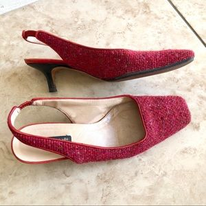 Kate Spade red tweed sling back heels, 6.5